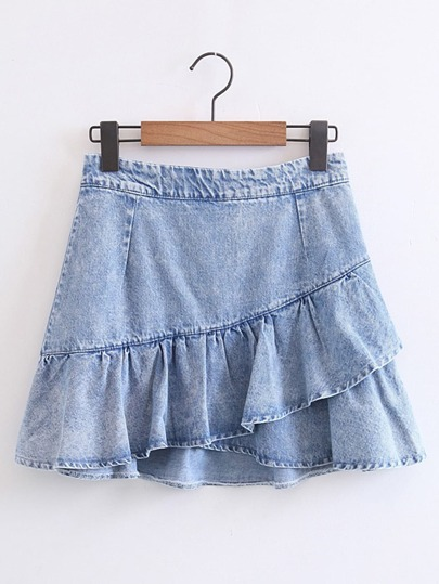 Bleach Wash Ruffle Denim Skirt