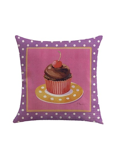 Polka Dot & Cake Print Pillowcase Cover
