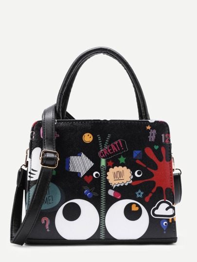 Eye And Zipper Print PU Grap Bag