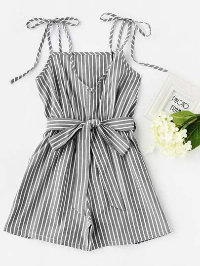 Self Tie Shoulder Stripe Romper With Belt