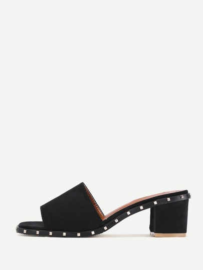 Rockstud Detail Block Heeled Slippers