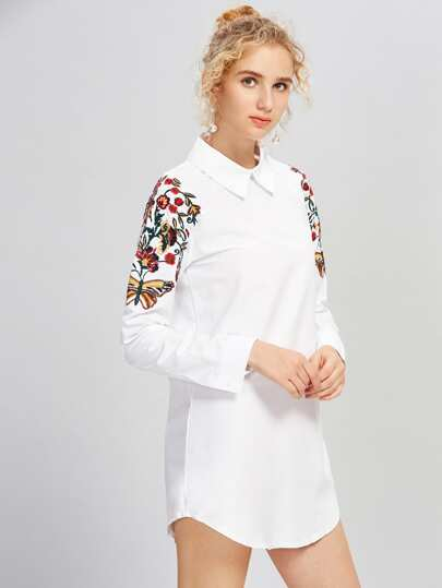 Shoulder Embroidery Shirt Dress
