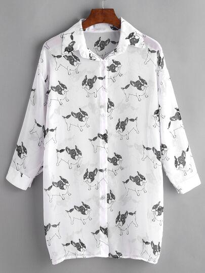 Bulldog Print Drop Shoulder Chiffon Shirt Dress