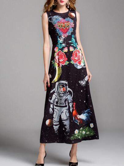 Flowers Print Beading Maxi Dress