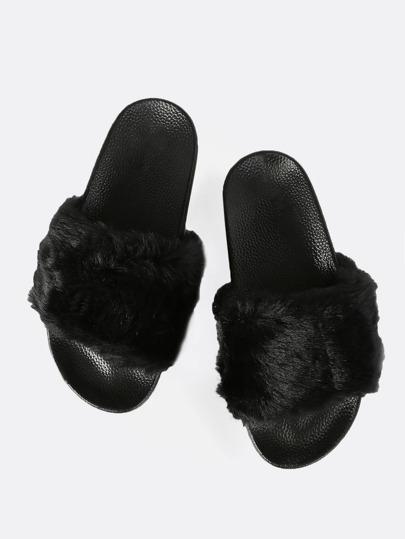 Faux Fur Slides BLACK
