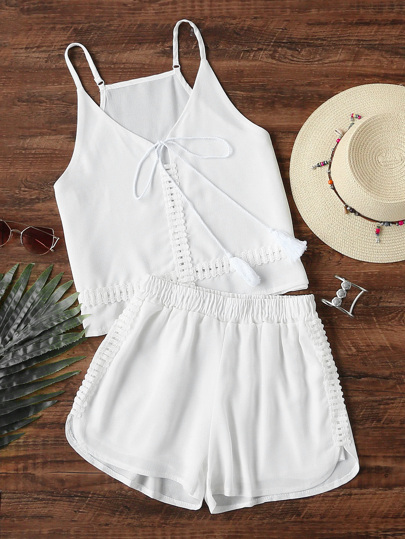 Lace Trim Tassel Tie Neck Cami Top With Shorts