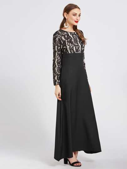 Contrast Lace Overlay Combo Kaftan Dress