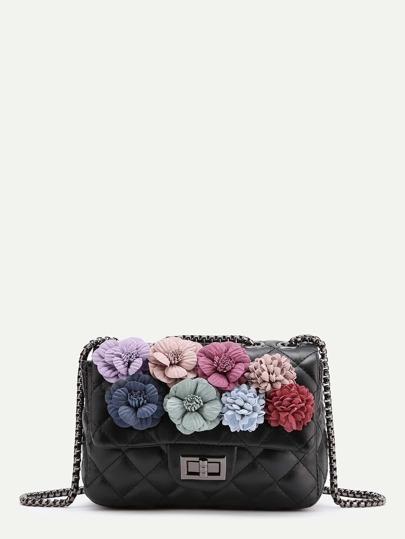 Bolso acolchado con adorno de flor