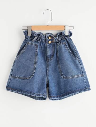Shirred Waist Denim Shorts