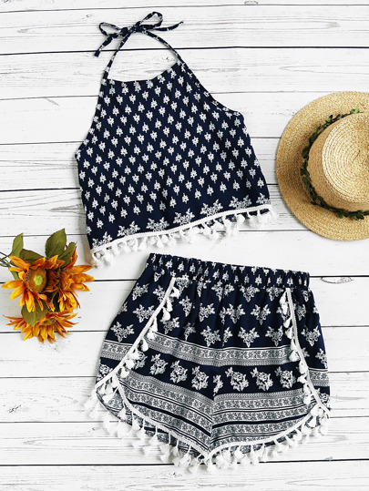 Halter Neck Printed Random Tassel Trim Top With Shorts