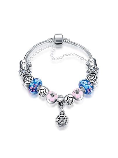 Contrast Flower Chain Bracelet