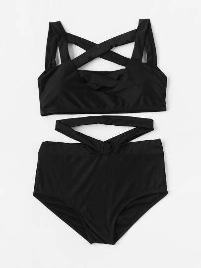 Criss Cross High Waist Bikini Set