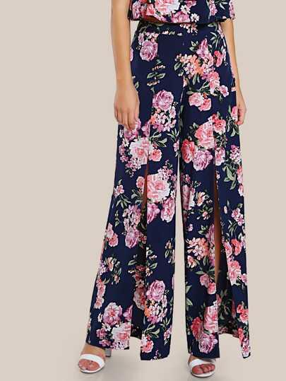 Floral Print Split Hem Pants NAVY