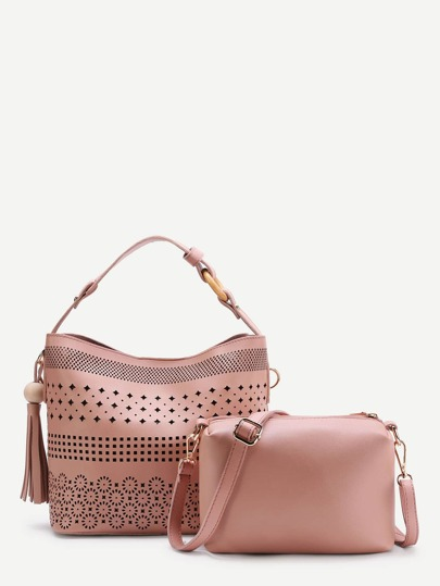 Tassel Detail Laser Cut Shoulder Bag With Clutch