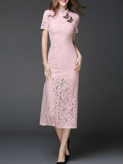 Butterfly Embroidered Split Lace Dress