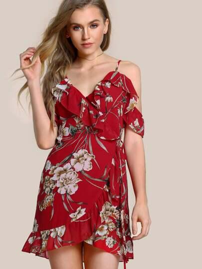 Floral Print Ruffle Hem Wrap Dress RED