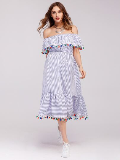 Flounce Layered Neckline Tassel Trim Striped Dress