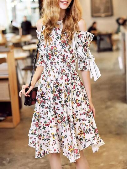 Open Shoulder Elastic-Waist Floral Dress