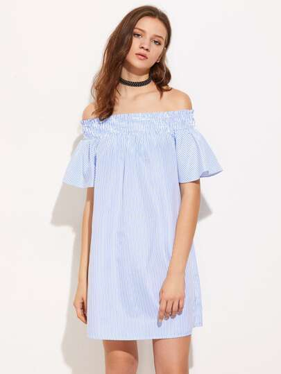 Smocked Off Shoulder Bell Sleeve Pinstripe Dress