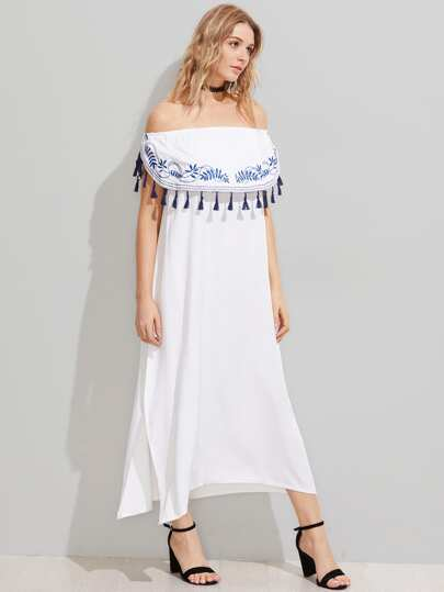 Flounce Layered Tassel Trim Embroidered Split Dress