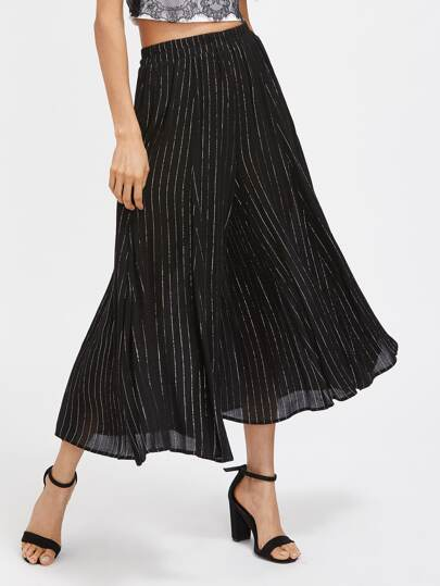 Elastic Waist Pinstripe Culotte Pants