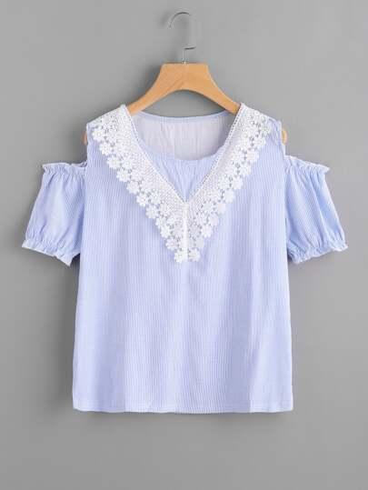 Contrast Lace Trim Open Shoulder Vertical Striped Blouse