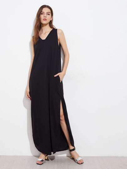 Slit Side Curved Hem Tank Dress