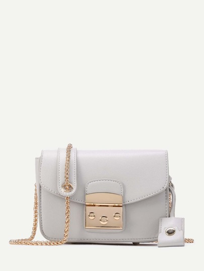 Lock Flap Crossbody Bag With Chain