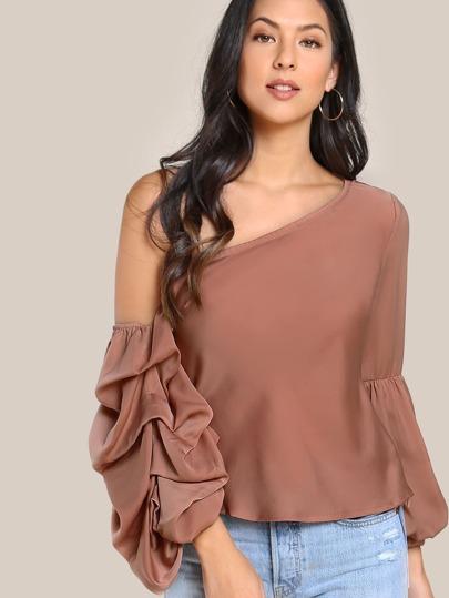Lantern Bardot Sleeve Shirt APRICOT