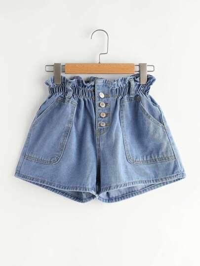 Jeansshorts mit Einreihig