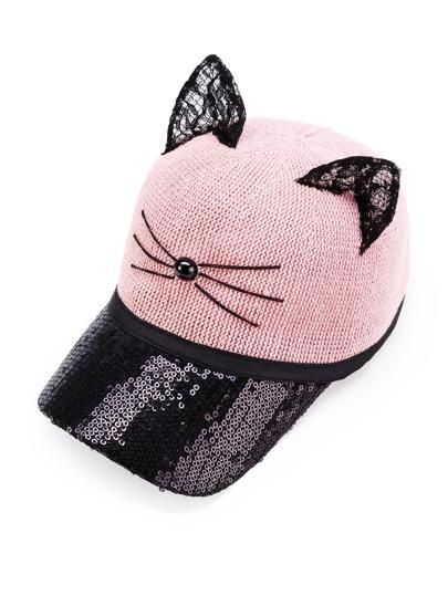 Gorra con estilo de béisbol con lentejuelas y oreja de gato en dos tonos