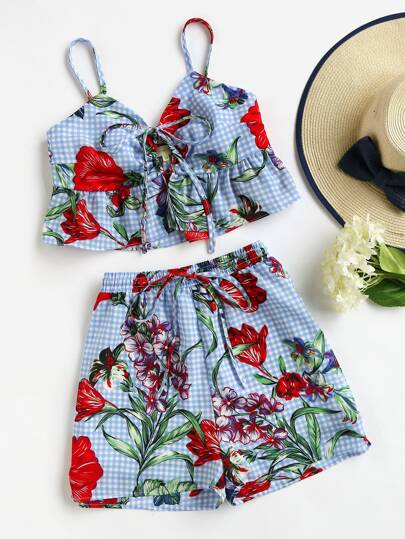 Tie Front Frilled Bustier Cami And Shorts Set