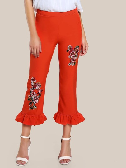 Embroidered Flare Leg Pants RED