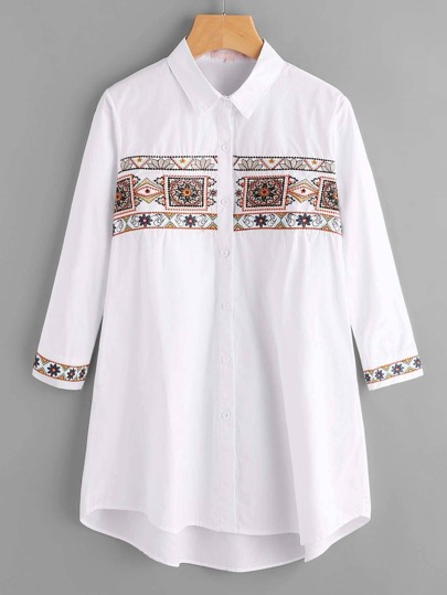 Tribal Embroidery Single Breasted Bluse