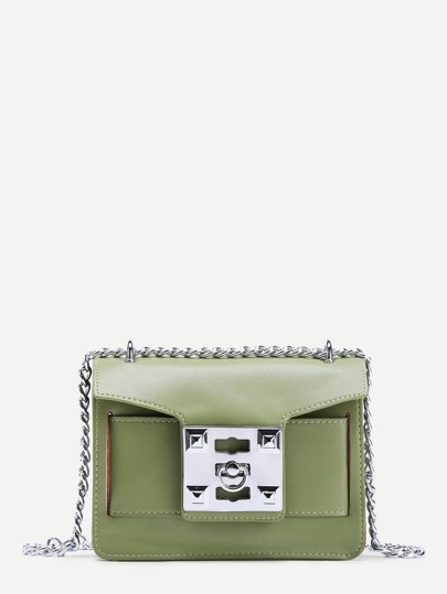 Metal Lock Design PU Shoulder Bag