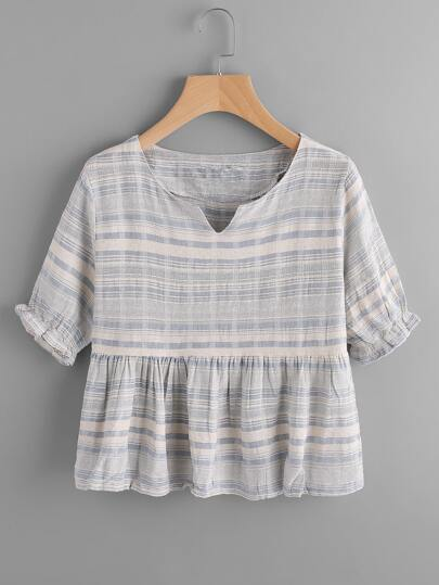 V Cut Striped Frill Hem Blouse