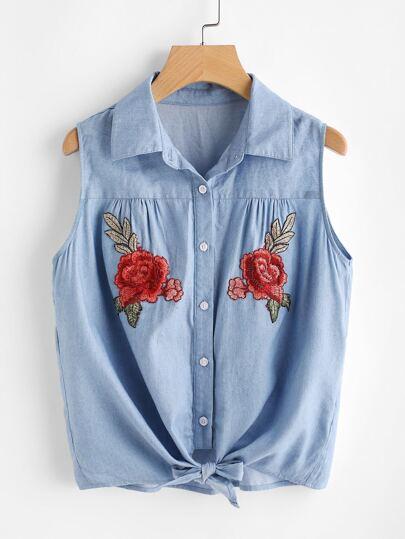 Symmetric Rose Patch Tie Front Shirt