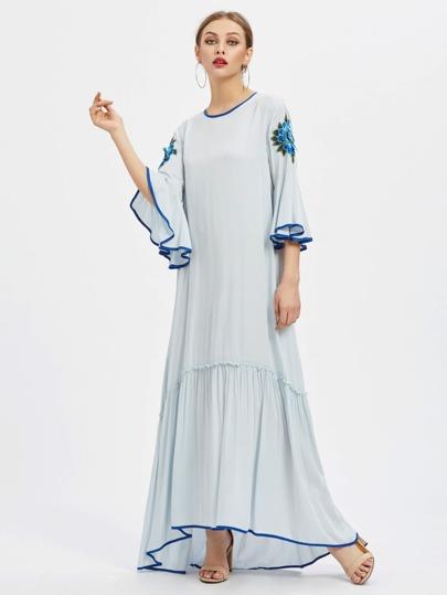 Contrast Binding 3D Flower Patch Fluted Sleeve Dress
