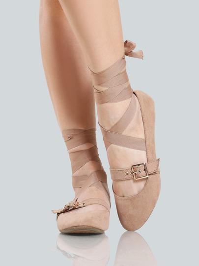 Faux Suede Buckle Ballet Flats CAMEL