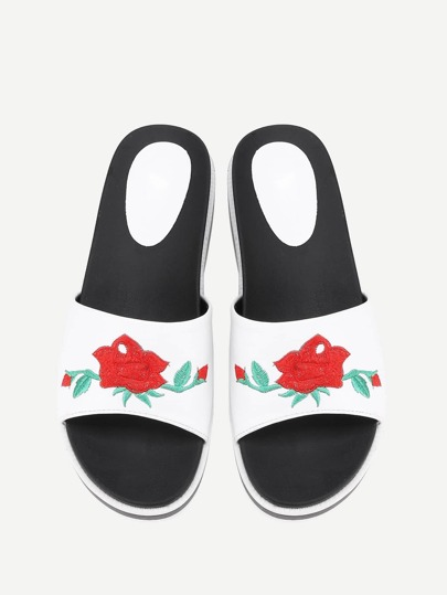 Rose Embroidery Flat Sliders