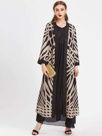 Contrast Trim Abstract Geo Print Long Abaya