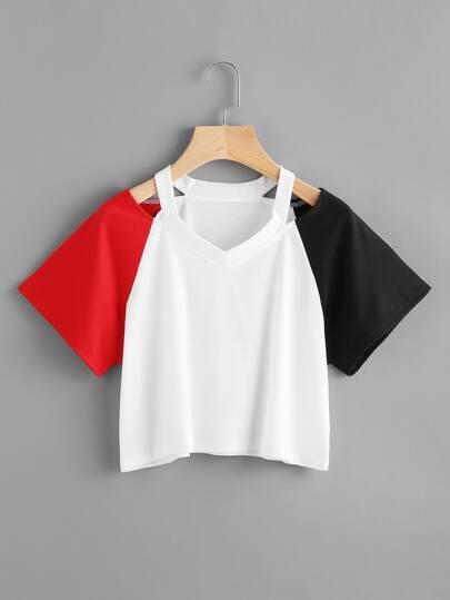 T-shirt maniche a contrasto in contrasto
