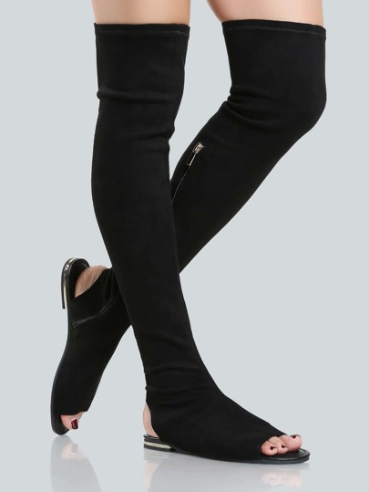 Faux Suede Thigh High Sandals BLACK