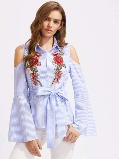 Symmetrical Embroidery Bell Sleeve Pinstripe Self Tie Blouse