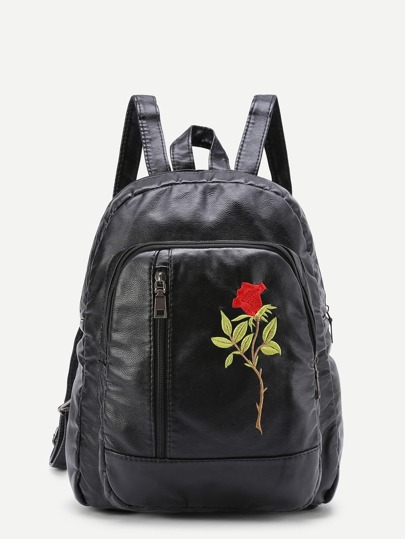 Flower Embroidery PU Backpack