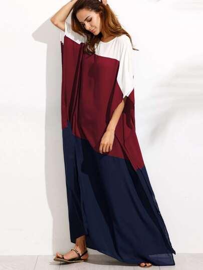 Cut And Sew Side Slit Poncho Dress