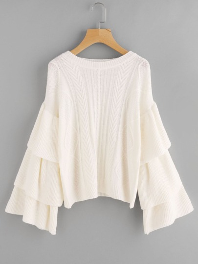 Layered Bell Sleeve Geo Jumper