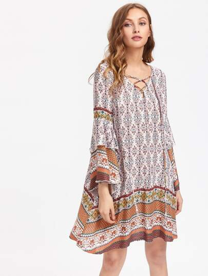 Tribal Print Layered Sleeve Criss Cross Front Dress