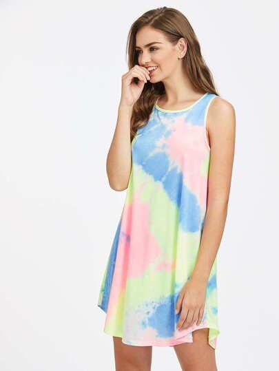 Dolphin Hem Swing Tie Dye Dress