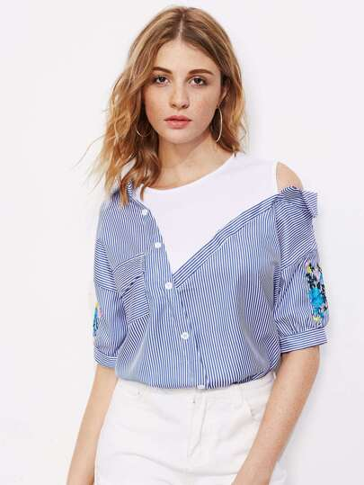 Contrast Open Shoulder Embroidery Blouse